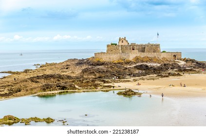 SAINT MALO, FRANCE - AUGUST 24,2014 - View at the Fort National. Fort National is a fort on a tidal island a few hundred metres off the walled city of Saint-Malo.