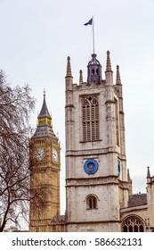 Saint Margaret Church Big Ben Tower  London England.  Built from 1486 to 1523 and was where Winston Churchill was married.