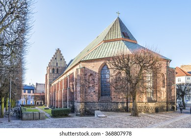 The saint maria church in the city of Helsingborg in the winter season.