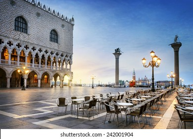 Saint Mark square with San Giorgio di Maggiore church in the background - Venice, Venezia, Italy, Europe