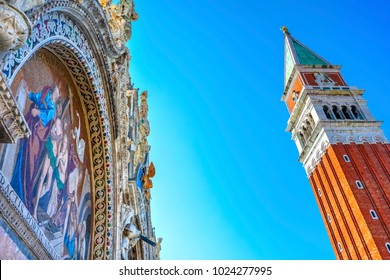 Saint Mark's Basilica Mosaic Campanile Bell Tower Piazza San Marco Saint Mark's Square Venice Italy.  First erected in 1173. Church created 1063 AD, Saint Mark's relics moved to this church