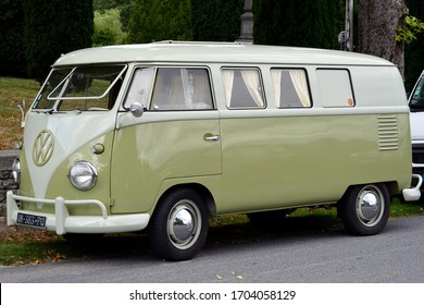 Saint Martial Le Mont, Creuse (23)/ France - August 18 2019 : A Volkswagen Split Screen Campervan at a show in France