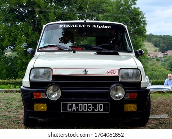 Saint Martial Le Mont, Creuse (23)/ France - August 18 2019 : A Renault 5 Alpine at a classic car show in rural France. This is a 1980 car fitted with a 1397 cc engine