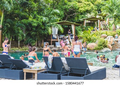Saint Martin - August 2017: Pool party at Loteri Farm in Saint Martin