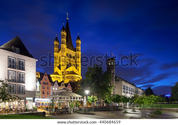 Saint Martin Cathedral in Cologne at night