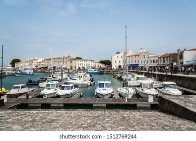 Saint Martin de Re, France - August 7, 2018: The quays of Saint Martin de Re. Island of Re