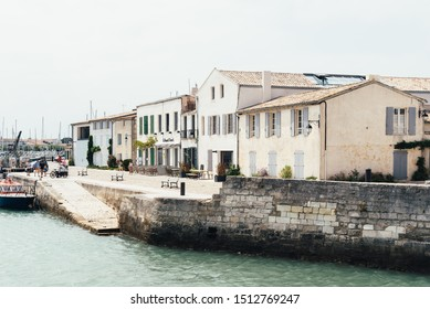 Saint Martin de Re, France - August 7, 2018: Boats in the port of Saint Martin de Re. Island of Re
