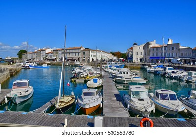 Saint Martin de Re, France - september 25 2016 : the picturesque village and boat in the port