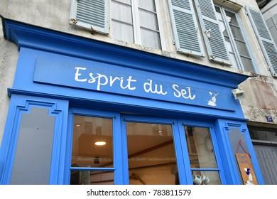 Saint Martin de Re; France - november 24 2017 : salt store in the picturesque village centre