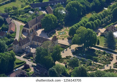 Saint Martin des Champs, France - july 7 2017 : aerial photography of the Corbeville castle