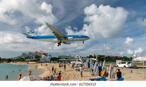 Saint Martin, Dutch Antilles, March 21, 2017: KLM passenger jet is about to land at the Princess Juliana airport.