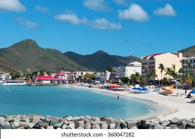 Saint Martin (Sint Maarten, St Martin), Netherlands Antilles, 16/03/2015: the Caribbean Sea and the sandy beach seen from the dock of the port of Philipsburg, the main town and capital of the country