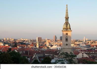 Saint Martin's cathedral and panorama of Bratislava at dusk, Slovakia