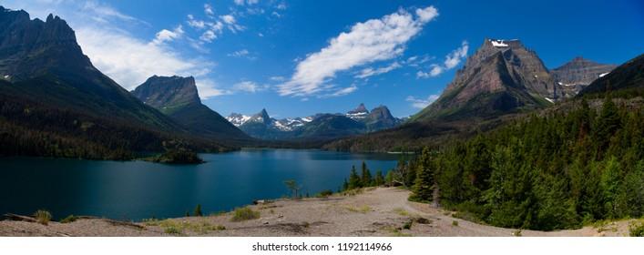 Saint Mary Lake in Glacier National Park, Montana, USA