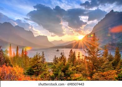 Saint Mary Lake and Wild Goose Island, Glacier National Park, Montana, America