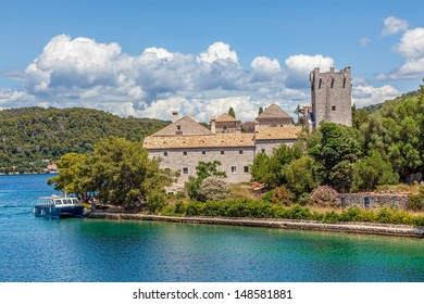 Saint Mary monastery on litle island in national park Mljet, Croatia