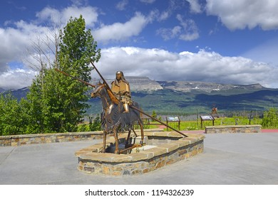 SAINT MARY, MONTANA - JULY 1, 2018: Blackfeet Indian Memorial in Glacier National Park. Park is a World Heritage sites and located in the U.S. state of Montana, on the Canada–United States border.