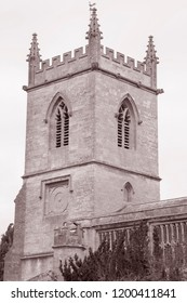 Saint Mary the Virgin Church, Chipping Norton; Cotswolds; England; UK in Black and White Sepia Tone