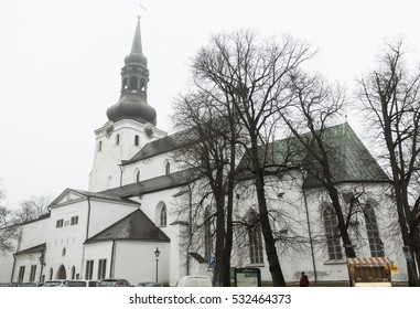 Saint Marys' Church in the old town of Tallinn, fog.