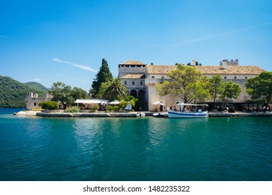 Saint Mary's Island, Mljet island, Croatia - August 4, 2019: small island in the big lake inside the Mljet National Park.