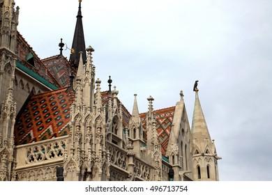 Saint Matthias church roof details in Budapest