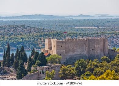 Saint Michael fortress view from the Barone fortress in Sibenik Croatia..