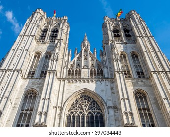Saint Michael and Saint Gudule Cathedral in Brussels, Belgium, under clear blue sky