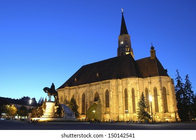Saint Michael's Cathedral, landmark of the city of Cluj-Napoca, Transylvania, Romania. Shot at the blue hour.