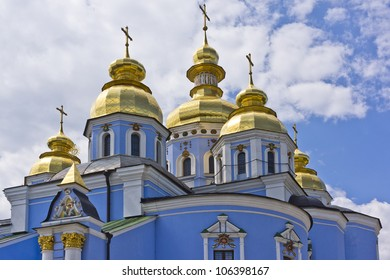 Saint Michael's Golden-Domed Cathedral - famous church complex in Kyiv, Ukraine, Europe. Original cathedral was demolished by Soviet authorities and was reconstructed in 1999 in an independent Ukraine