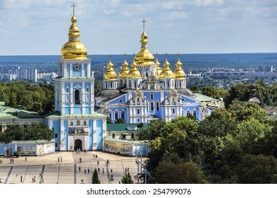 Saint Michael's Golden-Domed Cathedral - famous church complex in Kyiv, Ukraine, Europe. View from Bell tower of the Saint Sophia Cathedral.