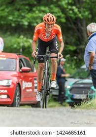 Saint Michel de Maurienne, France. Alessandro De Marchi, Italian Cyclist of CCC Team, at Col de la Baune climb on stage 6 Criterium du Dauphiné 2019