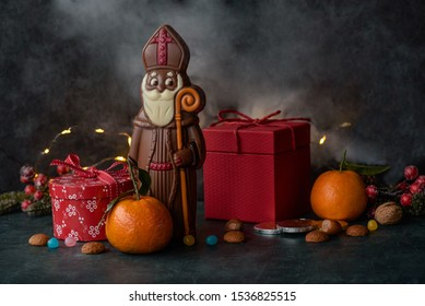 Saint Nicholas chocolate with gifts and candy