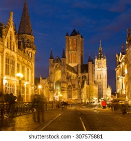 Saint Nicholas Church and Belfry tower, one of famous landmarks of Ghent, Gent in Flanders, Belgium