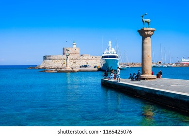 Saint Nicholas Fort and Colossus of Rhodes in Rhodes island in Greece
