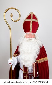 Saint Nicholas in his red costume with mitre