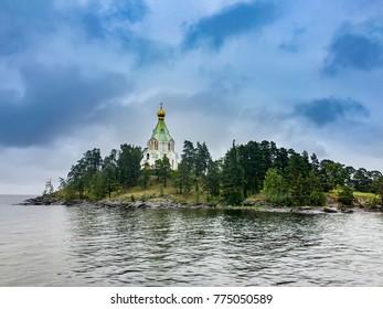 Saint Nicholas Island (skete) before sunset.Valaam Transfiguration monastery. Karelia. Russia
