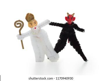 Saint Nicholas and Krampus concept. Central european Nikolaus and Krampus folklore in Austria, Bavaria/ Germany,Croatia,Czech Republic,Hungaey, Northern Italy,Slovakia and Slovenia.