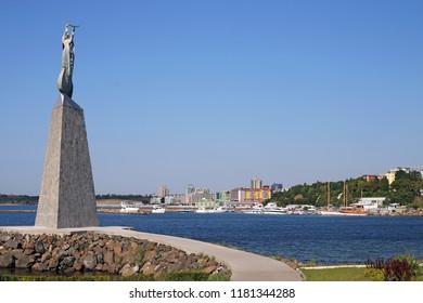 Saint Nicholas monument Nessebar cityscape Bulgaria