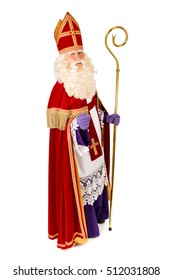 Saint Nicholas with staff portrait . Full length isolated on white background