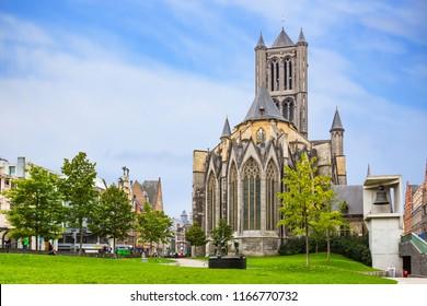 Saint Nicolas Church at Ghent in summer , Belgium