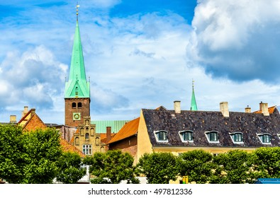 Saint Olaf cathedral in the old town of Helsingor in Denmark