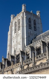 Saint Omer Cathedral, France, against a blue sky.