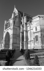 Saint Omer Cathedral / France -  and white image of 02/23/2019: Black and white image of St Omer Cathedral