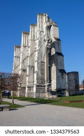 Saint Omer, Nord-Pas-de-Calais / France - 02/23/2019: Ruins of the Abbey of Saint Bertin, Saint Omer, Nord-Pas-de-Calais, France