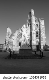 Saint Omer, Nord-Pas-de-Calais / France - 02/23/2019: Black and white image of the statue and ruins of the Abbey of Saint Bertin