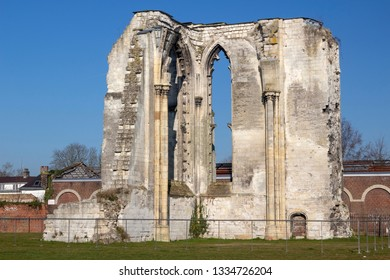Saint Omer, Nord-Pas-de-Calais / France - 02/23/2019: Ruins of the Abbey of Saint Bertin