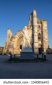 Saint Omer, Nord-Pas-de-Calais /France - 02/23/2019: Statue and ruins of the Abbey of Saint Bertin