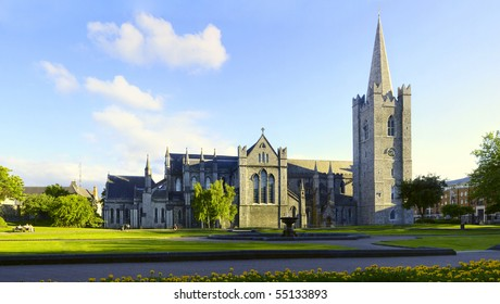 Saint Patrick Cathedral Dublin Ireland. Ultra wide field of view showing entire architecture