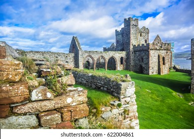 Saint Patrick cathedral inside Peel castle constructed by Vikings in Peel city in the Isle of Man