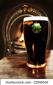 Saint Patrick celebration - Irish black beer inside a Dublin pub.